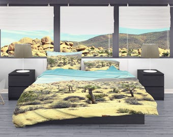 Joshua Tree Desert Duvet Cover, Dorm Bedding, Southern California, Dorm Room Bedding Set, Cactus Bedroom, Desert Bedroom, Bright Bedroom