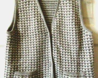 Alpaca Knitted Sweater Vest, Made in Peru, M - L