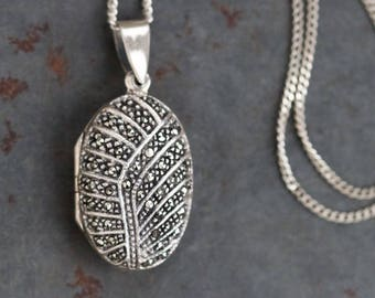 Oval Photo Locket Necklace - Sterling Silver and Marcasite - Antique Deco Jewelry