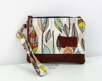 Flat Clutch Large Feathers with MT Patch PU Leather READY to SHIp
