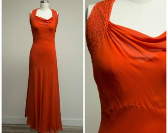 Vintage 1930s Dress • Stay Awhile • Tomato Red Silk Chiffon 1930s Evening Gown Size XSmall