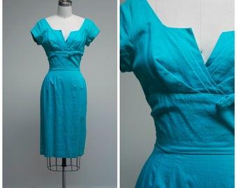 Vintage 1950s Dress • The Breeze • Blue Cotton 50s Cotton Wiggle Cocktail Dress Size Small