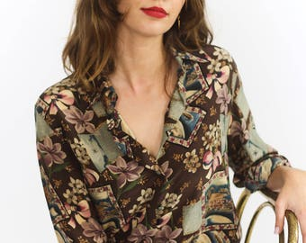 Pretty Silk Printed Button Up Blouse