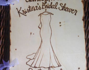 Bridal Shower Guest Book Personalized Artistic Wood  with HER Dress Replicated on the Front Cover Her Name Shower Date Organic Natural Bride
