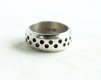 Heavy Silver Ring Band Dotted Size 6 Vintage Mexican Sterling Jewelry Taxco Mexico Thick Midi Ring