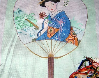 Needlepoint Canvas hand painted by Evelyn Berntein - Oriental Fan Picture- with cotton