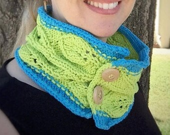 CLEARANCE SALE Hand Knit Collar/Cowl in Blue and Green with Leaf and Vine Motif and Big Wooden Buttons