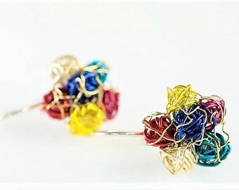 Flower earring, ear pin, flower drop earring, multicolor, colorful, wire earring, everyday, cute pin, hippie, autumn, Birthday gift women