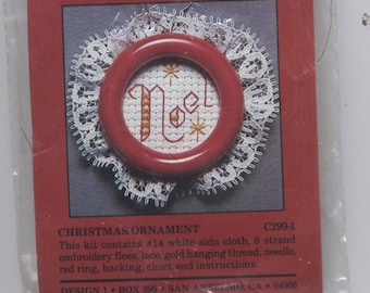 Noel Christmas Round Ornament Counted Cross-Stitch Kit with Frame