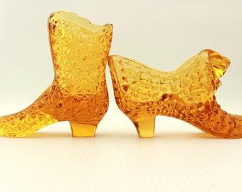 Fenton Shoe and Boot Toothpick Holders, Fenton Hobnail Shoe, Fenton Daisy and Button Boot, Fenton Amber Shoe, Fenton Amber Boot, Cat Shoe,