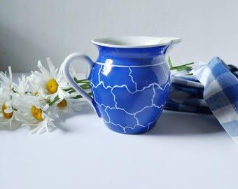 Vintage porcelain pitcher, cobalt blue, Czechoslovakia, blue and white milk pitcher
