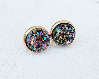 Peacock on Rose Gold Tone Setting - Druzy Stud Earrings - Hypoallergenic Posts