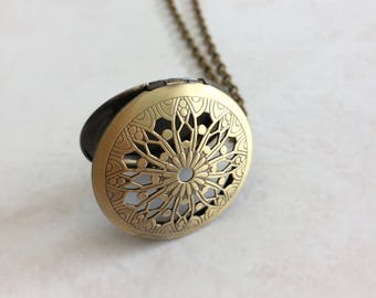 Filigree Brass Locket Necklace, Floral Gold Locket, Decorative Vintage Jewelry