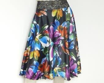 Colorful Desinger Print Satin Tango Jupe US 4 and 6 Eu 34/36  Milonga Dance Wear Circle Skirt adorable Tango Robe