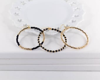 Large Hoop Earrings Choose Your Design Black and Gold Beaded Hoops