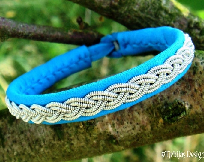LIDSKJALV Viking Bracelet in Turquoise Reindeer Leather decorated with Pewter Braid - Custom Handmade Unisex Cuff in Your Size and Color