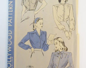 1940s Blouse Sewing Pattern, Hollywood Pattern 1415, Button Up Yoke Blouses, Long Sleeves, Short Sleeves, Bust 42, Unprinted Paper Pattern