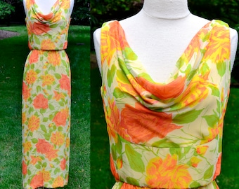 1960's Yellow Floral Vintage Maxi Dress & Crop Top / Mort Schrader Cowl Neck 2 Piece Dress / Medium