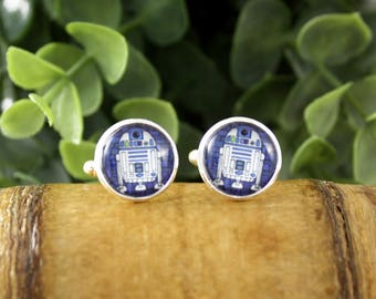 R2D2 Star Wars Cufflinks - Gift for Him - Wedding Accessories - Grooms Gift Idea - Father's Day Gift - Movie Cufflinks - Starwars Cufflinks