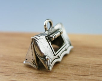 Tent Camping Charm, Cast Antique Pewter, Choose 1 or more, Made in USA, Ready to Ship