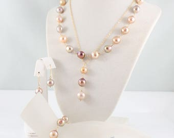 Kasumi like pearl pendant, necklace, bracelet, and earring set, convertible, handcrafted, multicolour, freshwater, gold: Simply Adorned