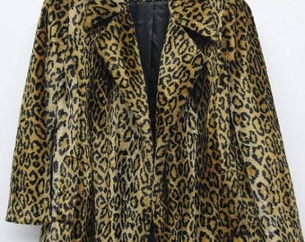 On Sale Vintage Leopard Coat by Visage Royal 1960's Faux Fur Cheetah Jacket Mid Century Mad Men Mod Winter Essential Stylish Hipster Size La