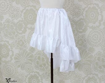 "Steampunk High Low Mini Cecilia Skirt -- White Crinkle Taffeta -- Ready to Ship -- Best Fits Up To 45"" Waist"