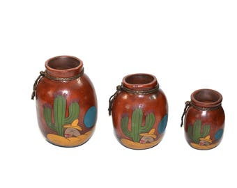 Terra Cotta Rope Pots, Sleeping Mexican Clay Pots, Set of 3 Mexican Clay Pots, Southwestern Decor