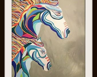 BOHEMIAN COWGIRL Multi Color Hand Painted Horse Mare & Foal Canvas Wall Art Hanging