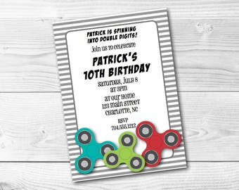 Fidget Spinner Invitation Digital File Birthday Class Party