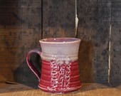 Carved Lupin mug in Cranberry Frost by Village Pottery Prince Edward Island PEI