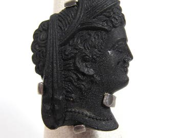 Vintage Sterling Silver Jet Victorian Lady Face Cab Ring Sz 5 Handmade Mourning