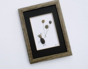 """Pebble Art - Child with Balloons - 6""""x 8"""" Rustic Frame with Mat - modern art, child's room art, small space wall art, nursery art"""