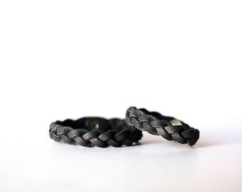 Mommy & Me Bracelet Set / Braided Leather / Dark Charcoal