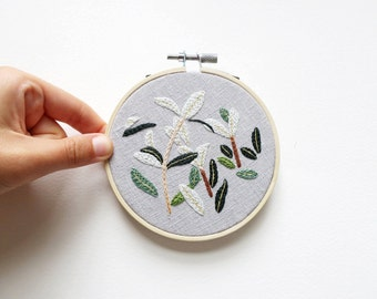 Blue Leaves - Embroidery Hoop Art - 4 inches wide