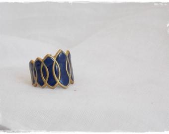 Dark Blue Ring, Nautical Brass Ring, Navy Brass Ring, Navy Blue Shield Ring, Polymer Clay Ring, Brass Knuckle Ring, Knuckle Shield Ring