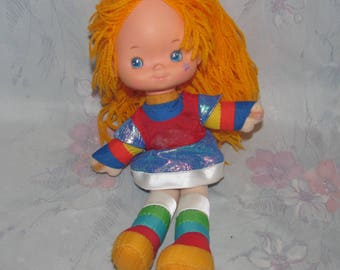 """Vintage 1983 Hallmark Rainbow Brite Plush -  Velcro Hands - 10"""" - Smaller Size - Good Condition, Missing Hair Tie/Ribbon and Decal"""
