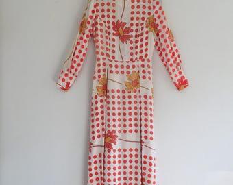 Vintage 70's Flower Power Maxi Dress S
