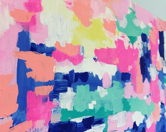 BRIGHT + COLORFUL PAINTING. bright pink + peach + light pink + mint + teal + blues + white + hints of yellow. canvas painting. decor. bright