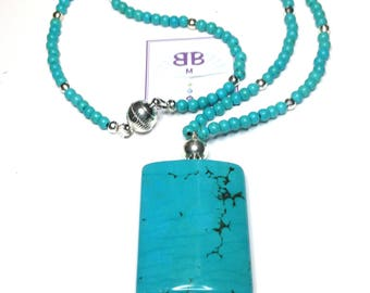"Handmade 21""  Genuine TURQUOISE PENDANT NECKLACE Sterling Accent Beads Magnetic Clasp"