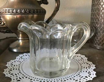 PAIR of Sweet Glass Creamer's or Syrup Pitcher's - Thick Clear Glass with Scallopped Rims - SET of (2)