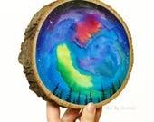 Night sky painting, wood wall art, wood sign, wood wall decor, nature wall art, Northern lights art, wood slice art, starry night art