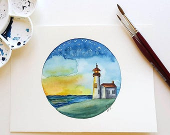 Original watercolor painting Lighthouse watercolor Small wall decor Sea ocean nautical art illustration