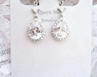 Cubic zirconia clip-on earrings, Clip-on's, Clip on earrings wedding earrings, Clip on earrings for a bride, Clip on bridal earrings