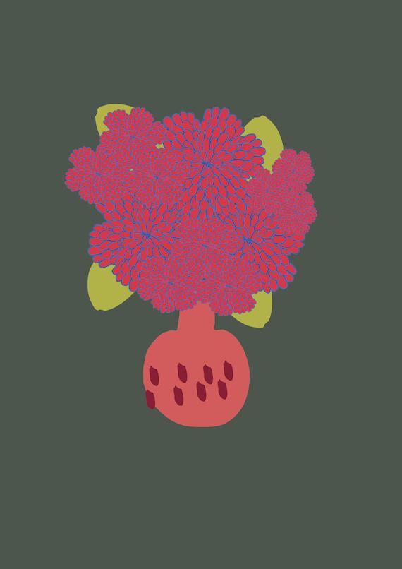 Winter florals A3 wall art Print.Botanical  Poster Illustration. wall decor.gift