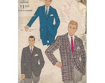 1960s Mens Sport Jacket Chest 38 Vogue 9445 Three Button Front Blazer with Pocket Variations Vintage Sewing Pattern Menswear Fashion