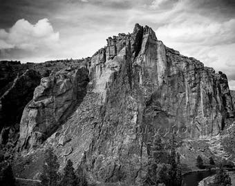 Rustic Landscape, Mountain Photo, Black And White Landscape Photography, Smith Rock, Western Landscape, Rock Climbing, Rustic Art Print