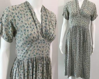 Pretty 1940's Cotton Floral Dress
