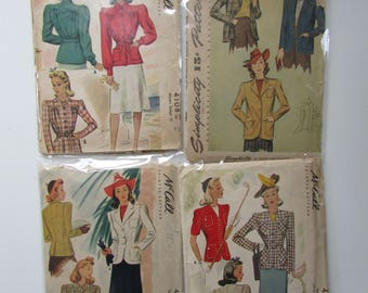 1940s Vintage Suit Jacket and Sportswear Patterns