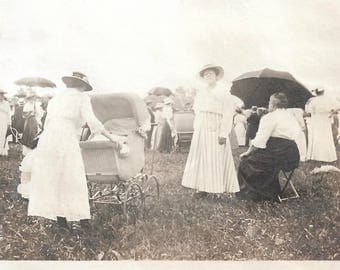 "Vintage Photo ""County Fairgrounds"" Impressionistic Abstract Crowd Victorian Hats Dress Parasol Wicker Pram Found Vernacular Photo"